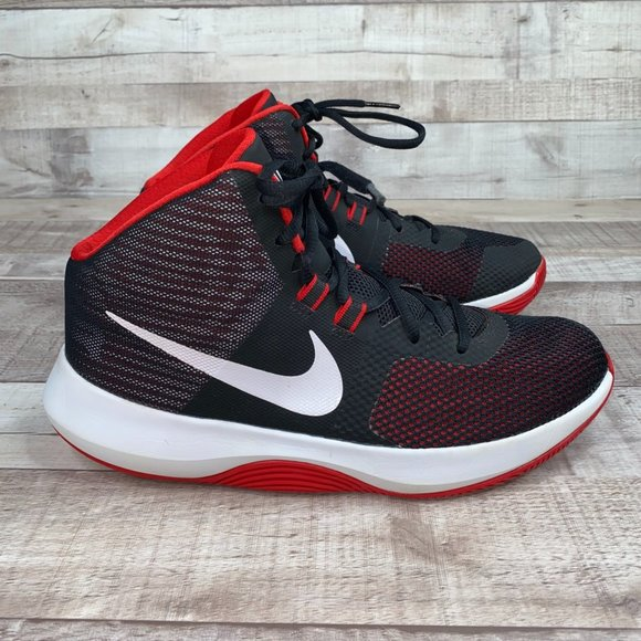 Nike Air Precision Red Black Basketball Shoes Sz 9